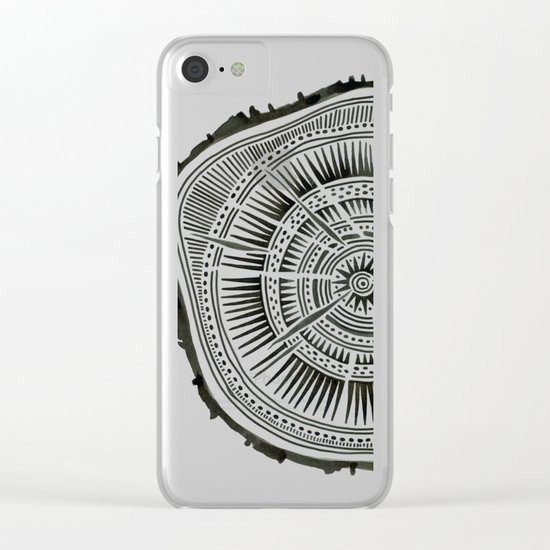 Paper Birch – Black Tree Rings Clear iPhone Case