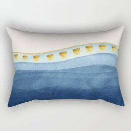 Blue waves and gold strokes Rectangular Pillow