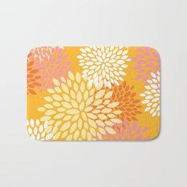 Abstract Flowers Print, Orange, Pink, Yellow Bath Mat