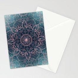 Stylish Rose Gold Mandala Blue Nebula Stars Design Stationery Cards