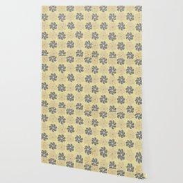 Floral design Yellow & Gray Flowers print Wallpaper