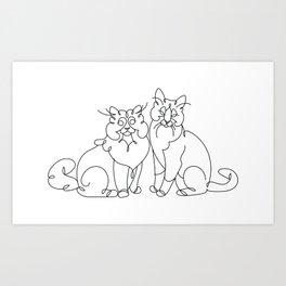 Cats line art Art Print