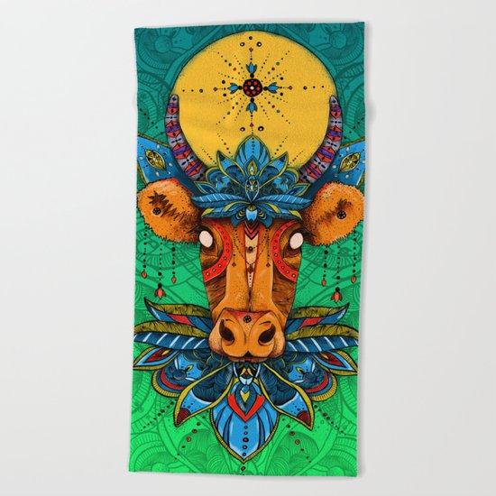 Holy Cow! Lotus. Beach Towel