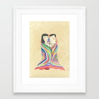 blanket Framed Art Prints featuring blanket by lazy albino