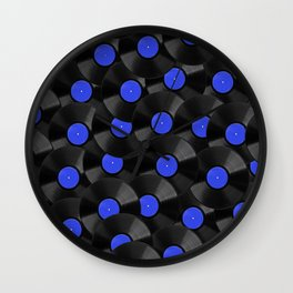 Vinyl Records Pattern (Blue) Wall Clock
