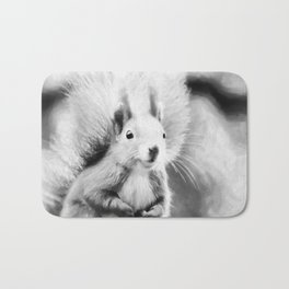 squirrel digital oil paint dopbw Bath Mat