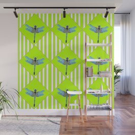 LIME GREEN COLOR BLUE  DRAGONFLY GEOMETRIC ART Wall Mural