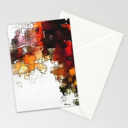 Orange Nordic / Scandinavian Art in Abstract Style Stationery Cards