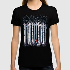The Birches (in Blue) MEDIUM Womens Fitted Tee Black