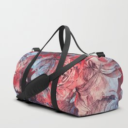 flowers red and blue pattern #flowers #pattern Duffle Bag