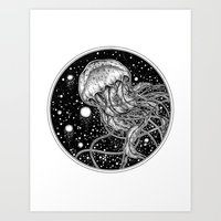 jellyfish Art Prints featuring Jellyfish by Corinne Elyse