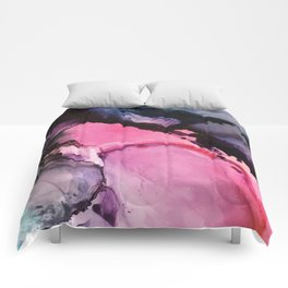 Pink and Navy Alcohol Ink Painting Comforters