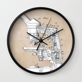 patent art microscope Wall Clock