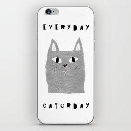 Caturday / poster, cat, art print, pictures, scandinavian, nursery, deco, family, art, animal, petti iPhone Skin