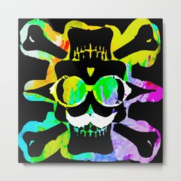 old vintage funny skull art portrait with painting abstract background in green yellow pink blue Metal Print