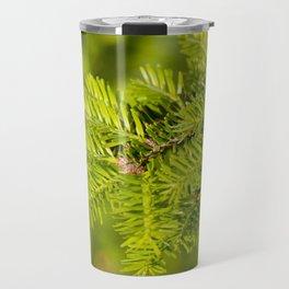 Green coniferous fresh shoots detail Travel Mug