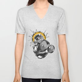 Best monkey dumbbell design online Unisex V-Neck