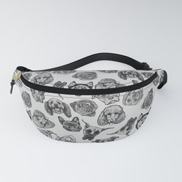 Black and White Pups Fanny Pack