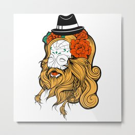Bearded Women Girl Metal Print