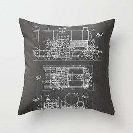 Steam Train Patent - Steam Locomotive Art - Black Chalkboard Throw Pillow