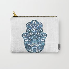 Buddha Lotus Hamsa - watercolor blues Carry-All Pouch