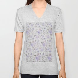 Lavender gray elegant vintage roses floral Unisex V-Neck