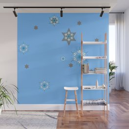 BABY BLUE COLOR & SNOWFLAKES DESIGN ART Wall Mural