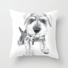 Schnozz the Schnauzer Throw Pillow