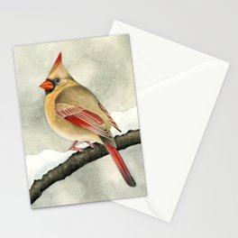 Snowy Cardinal Stationery Cards