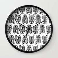 r2d2 Wall Clocks featuring R2D2 by Kimberly Rhee