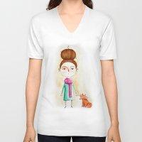 ellie goulding V-neck T-shirts featuring Ellie & fox by Ermina Emmanouel