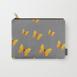 YELLOW BUTTERFLIES CHARCOAL GREY ART Carry-All Pouch