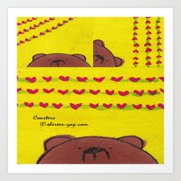 coasters Art Prints featuring Grumpy Bear - Coasters by Shereen Yap