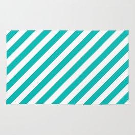 Diagonal Stripes (Tiffany Blue/White) Rug