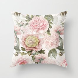 Vintage & Shabby Chic - Antique Pink Peony Flowers Garden Throw Pillow