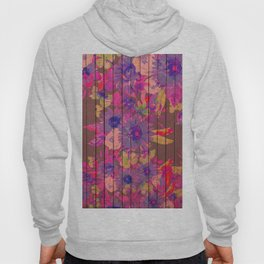 Brown wood magenta purple watercolor floral Hoody