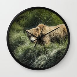 Munching Grass by the Stream Wall Clock