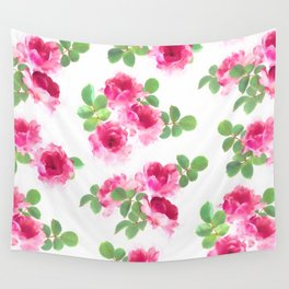 Raspberry Pink Painted Roses on White Wall Tapestry