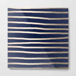 Drawn Stripes White Gold Sands on Nautical Navy Blue Metal Print