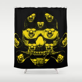 Yellow skull on a black Shower Curtain
