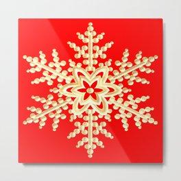 Snowflake in a Red Field Metal Print