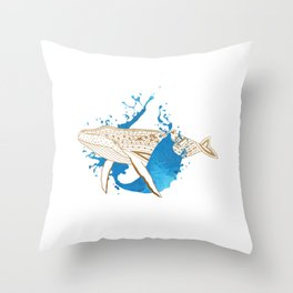 Whale Splash Throw Pillow