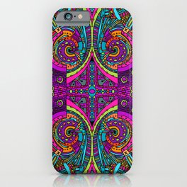 Vintage Cool and Colorful Bohemian Boho Hippie Hanging Blacklight Style Pattern iPhone Case