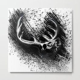 Deer Skull Inksplash Metal Print