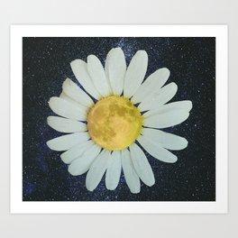 Galaxy Moon Daisy Art Print
