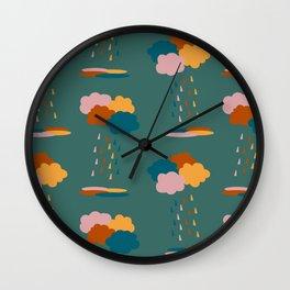 Colorful mixed rain clouds & drops pattern Wall Clock