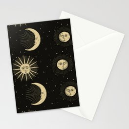 The Sun, The Moon, The Crescent of Moon Stationery Cards
