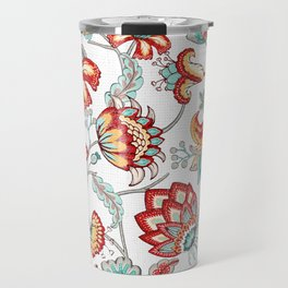 Red and Light Blue Indian Floral Travel Mug