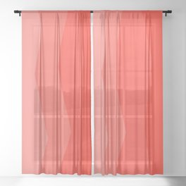 Cool Geometric Living Coral Gradient abstract Sheer Curtain