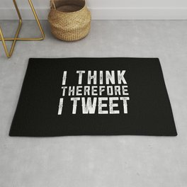 I think therefore I tweet (on black) Rug